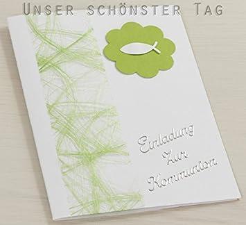 10 x Einladung Einladungskarte Kommunion Einladungen hellgrün