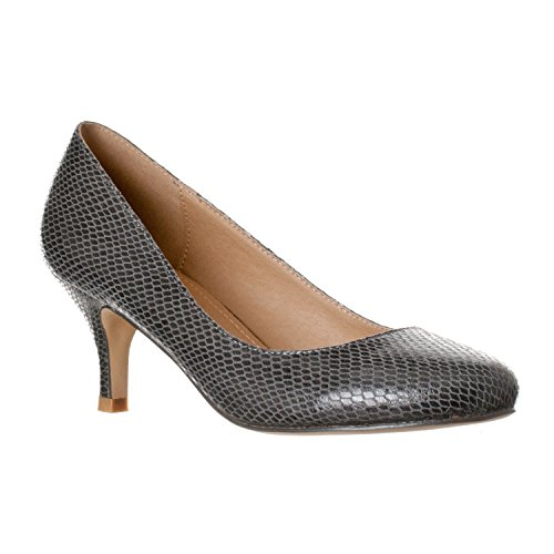 Riverberry Women's Ruby Round Toe, Kitten Low Height Pump Heels, Grey Snake, 8 ()