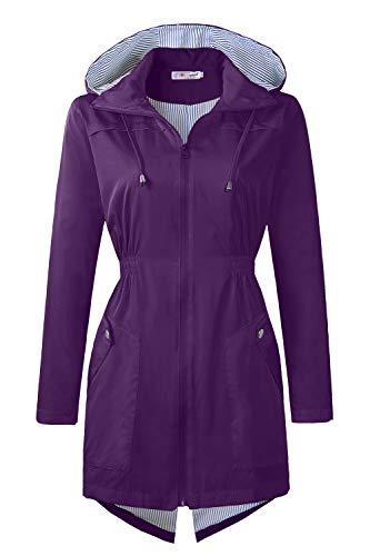 BBX Lephsnt Rain Jacket Waterproof Lightweight Rain Jacket Active Outdoor Hooded Womens Jackets and Coat Purple L ()