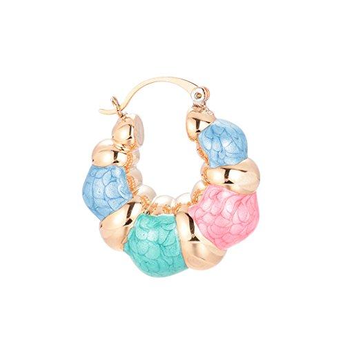 (Romantic Time Women's Enamel Hoop Earring Thick Door Knocker Bamboo Eearrings Colorful Jewelry)