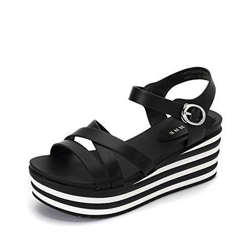 Pastel De Pino De Verano Sandalias De Tacón Inferior/Moda Crossover Cinturón Aumenta Los Zapatos De Las Mujeres A