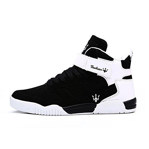FZUU Men's Fashion High Top Leather Street Sneakers Sports Casual Shoes (10 US= EU 44, Black)