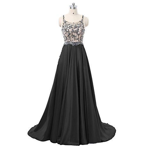 AngelaLove Women's Beading A-Line Long Evening Party Gowns 018 Off The Shoulder Sweep Train Floor Length Formal Prom Dresses Black