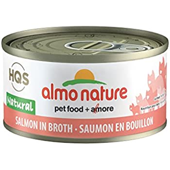 Almo Nature HQS Natural Salmon in broth Grain Free Wet Canned Cat Food (24 Pack of 2.47 oz/70g cans)