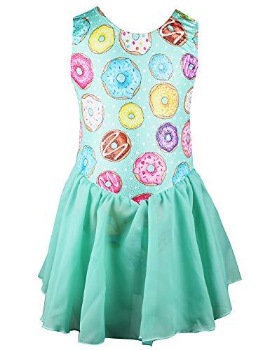 Midout Dance Leotards for Girls Gymnastics 2t 3t 4t Kids Children Tutu Dress Biketard Sparkles Donut Unitards with Skirt Green