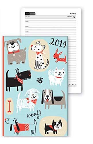2019 - Agenda semanal A6 con diseño de gatos y gatos, color rosa y verde