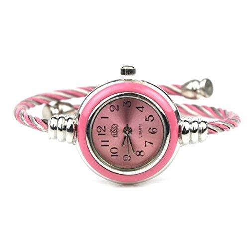 (Vavna Womens Ladies Girl 2 Tone Gold Silver Classic Twisted Band Bracelet Bangle Cuff Round Mini Wrist Watch (Sliver Pink))