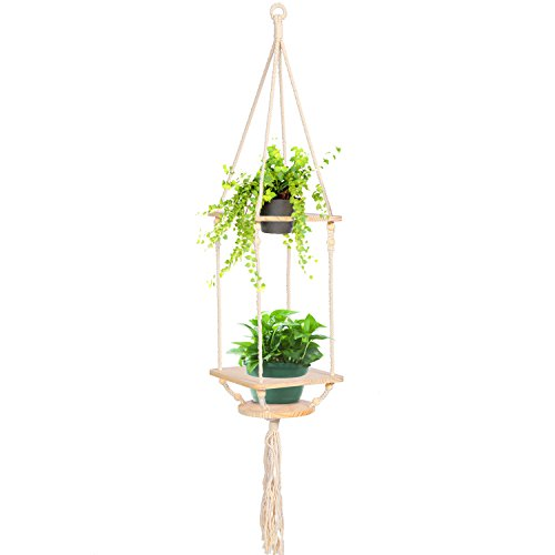 Two Tier Flower Planter - KINDEN Macrame Plant Hanger - Wooden Hanging Planter Stand Pine Shelf with Decorative Beads Bohemian Home Decor Flower Pot Holder for Succulent, Cacti, Herbs, Plants, Cotton Cord, 2 Tier
