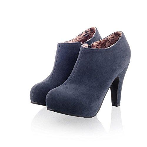 Susanny High Heel Shoes Women's Fashion Sexy Platform Zipper Closure Blue Dress Pumps Ankle Boots 7.5 B (M) US (Sexy Fashion Shoes High Heel)