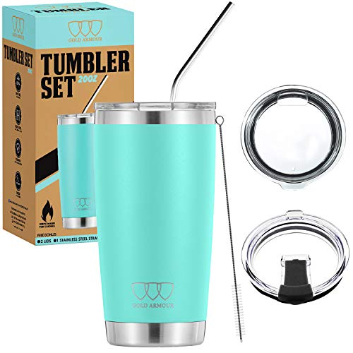 20 oz Tumbler - 5 Piece Stainless Steel Insulated Water & Coffee Cup Tumbler with Straw, 2 Lids, Straw Cleaner - 18/8 Double Vacuum Insulated Travel Flask (Seafoam, 20oz)