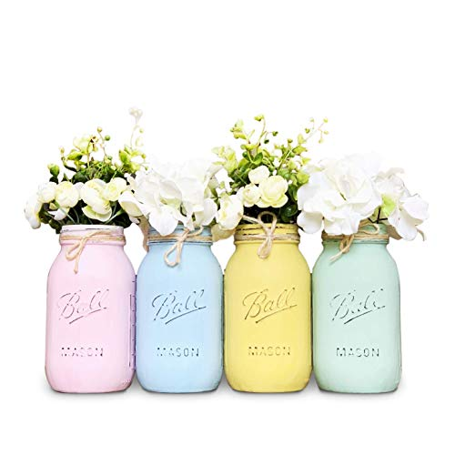 - Mason Jar Centerpiece Set, Your Choice of Jar Colors, 3-4-5 piece sets, Pint or Quart Size, Silk Flowers Optional