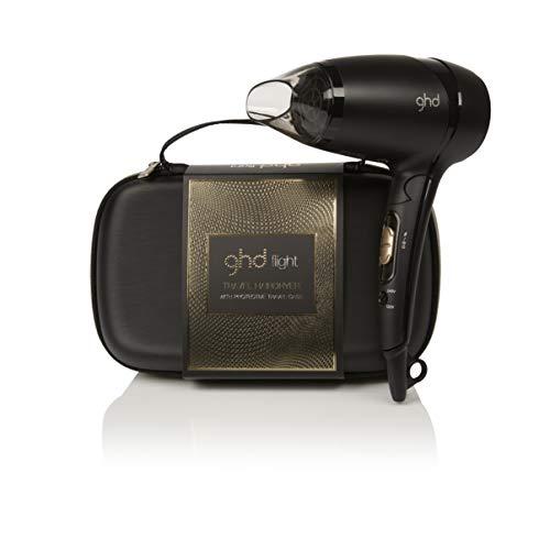 ghd flight gift set - Secador de viaje potente de diseño plegable con funda rígida protectora y voltaje universal. Boquilla extraíble y dos niveles de ...