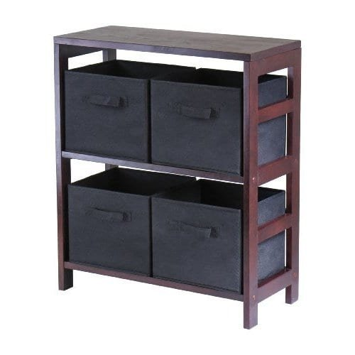Luxury Home Capri 2-section M Storage Shelf with 4 Black Fabric Foldable Baskets by Luxury Home (Image #1)