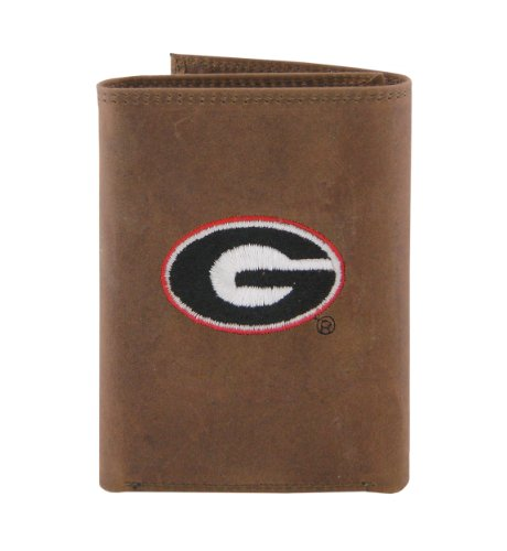 - NCAA Georgia Bulldogs Zep-Pro Crazyhorse Leather Trifold Embroidered Wallet, Light Brown