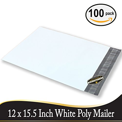 100 pack of Mighty Gadget (R) Poly Mailers 12x15.5 inch Shipping Envelopes Bags (White)
