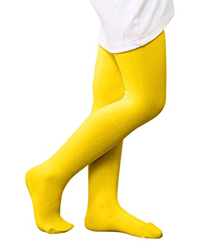 [Zando Girls Stretchy Comfort Cotton Colorful Leggings Pants Elastic Footed Tight Yellow Medium] (Kids Natural Leopard Costumes)