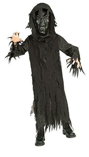Creepy Nightgown Costume (Boy's Skeleton Lord Black Hooded Robe and Mask Child Costume Small 4-6)