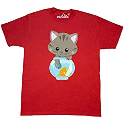inktastic - Kitty and The Fish Bowl, Cute Little Cat, T-Shirt Medium Red 35a84