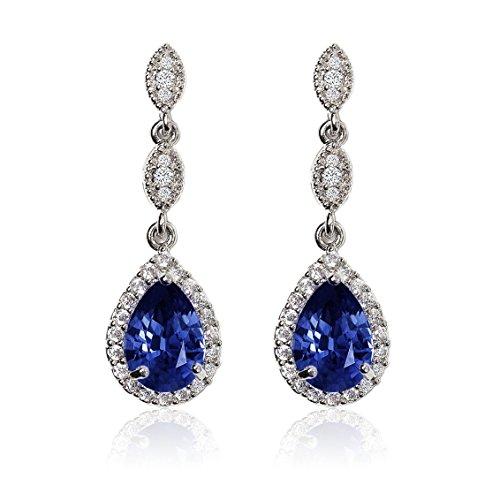 - A+O Sapphire Blue Crystal Drop Earrings