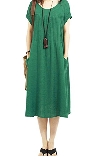 Loose COCOUSM Womens Cotton Green Summer Linen Womens Dress Pullover COCOUSM w6IaqdUH