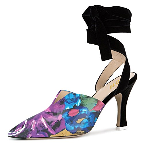 YDN Women Lace up Low Heels Sandals Pointed Toe D'Orsay Pumps Slingback Party Dress Shoes Purple Floral