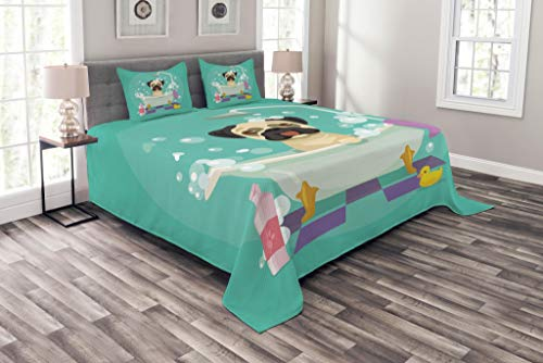 Quilted Duck Pet Cover - Lunarable Nursery Bedspread Set King Size, Pug Dog in Bathtub Grooming Salon Service Shampoo Rubber Duck Pets in Cartoon Style Image, Decorative Quilted 3 Piece Coverlet Set with 2 Pillow Shams, Teal