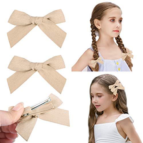 DEEKA 2 Pack Hair Clip Hair Bows Fringe Clip for Little Girls - Solid Khaki