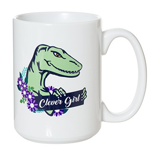 Clever Girl Jurassic Park Parody Funny Velociraptor Mug - 15oz Deluxe Double-Sided Coffee Tea Mug