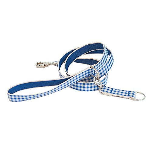 Harry Barker Blue Gingham Dog Leash, 3/4-Inch by 4-Feet