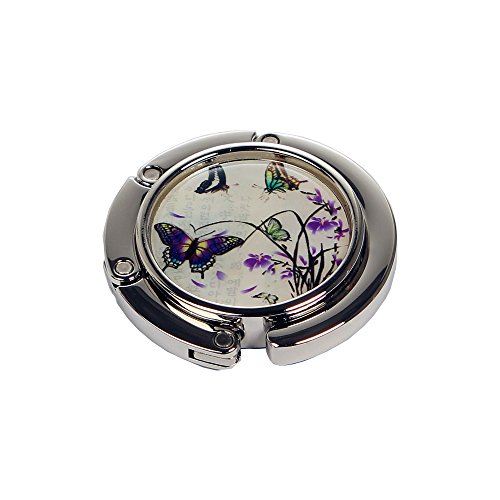 Nacre Inlay Mother of Pearl Purple Butterfly Flower Design Foldable Table Purse Caddy Portable Handbag Holder ()