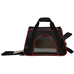 Little World Breathable Car Pet Carrier Petsafe Tote Black Pet Travel Bag with Built-in Security Lock Zipper Detachable Sherpa Liner Side Pockets, Eco-Friendly for Cats Lap Dogs Guinea Pigs On-the-go