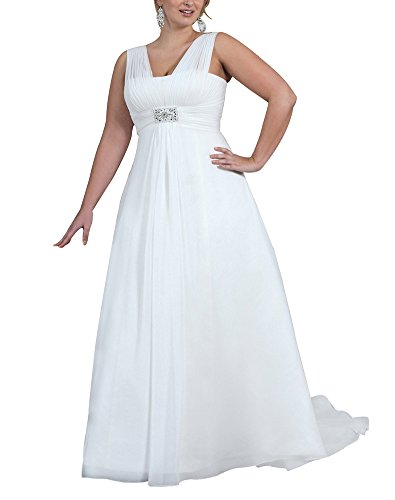 Erosebridal Plus Size Wedding Dress for Women V Neck Beaded A Line Chiffon Bridal Gowns US 26 White