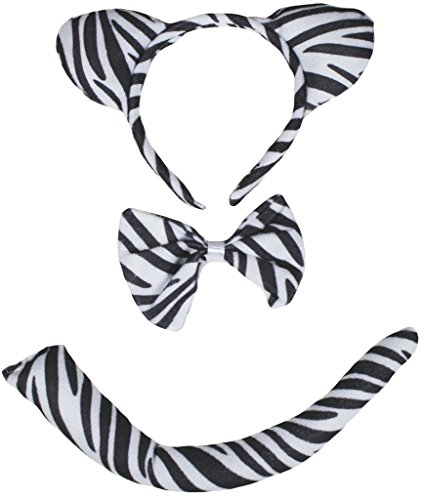 Petitebella Headband Bowtie Tail Unisex Children 3pc Costume (Zebra) ()