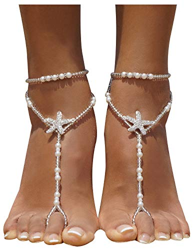 Bellady 2Pcs Pearl Ankle Chain Barefoot Sandals with Starfish Beach Wedding Foot Jewelry,White