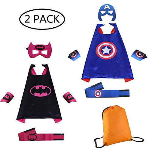 Superhero Dress Up Costumes Capes Belt Bracelet and Masks for Kids,DIY Birthday Party Dress up 2-Pack Set