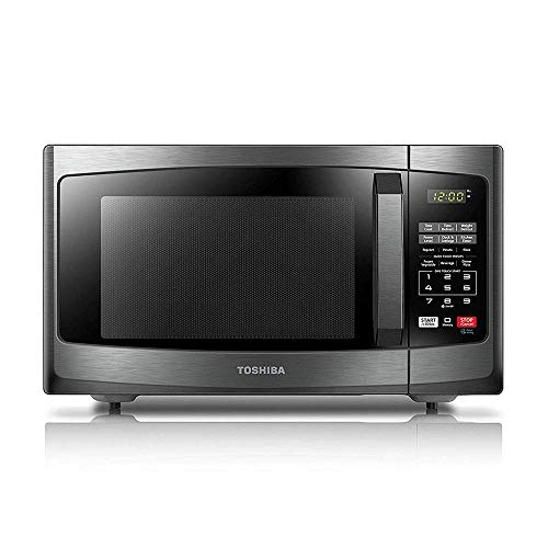 - Toshiba EM925A5A-BS Microwave Oven with Sound On/Off ECO Mode and LED Lighting, 0.9 Cu.ft, Black Stainless (Renewed)