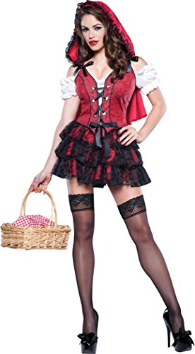 Racy Red Riding Hood Costume (InCharacter Costumes Women's Racy Red Riding Hood Costume, Red/Black, Small)