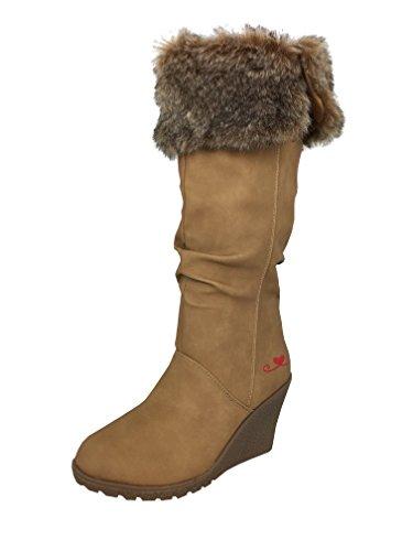 LOVENESS, Damen Stiefeletten leicht gefuetterte Stiefel Boots Camel