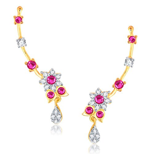 Sukkhi Stunning Gold And Rhodium Plated Cubic Zirconia And Ruby Stone Studded Ear Cuff for Women