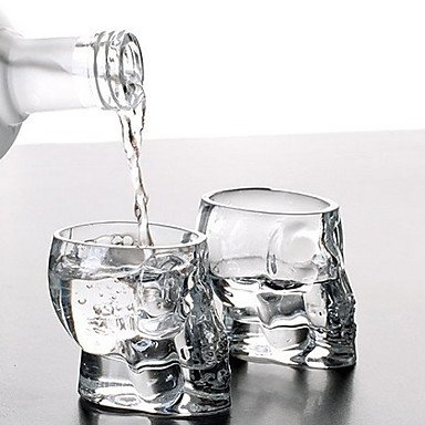 QINF Mini Crystal Skull Head Cup Vodka Shot Glass Whiskey Drink Ware for Home Bar