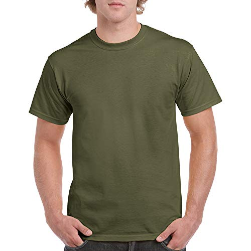 Gildan Men's Heavy Cotton Adult T-Shirt, 2-Pack, Military Green, Small