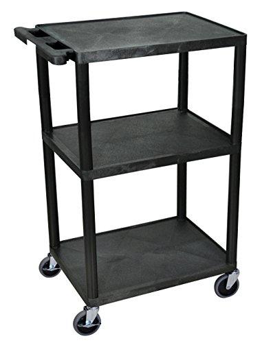 Luxor LP42-B Multipurpose AV Presentation Carts with 3 Shelves (Cart Presentation Shelf Three)