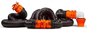 Camco RhinoFLEX 20ft RV Sewer Hose Kit, Includes Swivel Fitting and Translucent Elbow with 4-In-1 Dump Station Fitting, Storage Caps Included, Frustration-Free Packaging (39742)