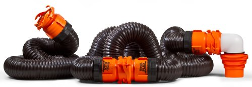 Camco RhinoFLEX 20ft RV Sewer Hose Kit, Includes Swivel Fitting and Translucent Elbow with 4-In-1 Dump Station Fitting, Storage Caps Included, Frustration-Free Packaging