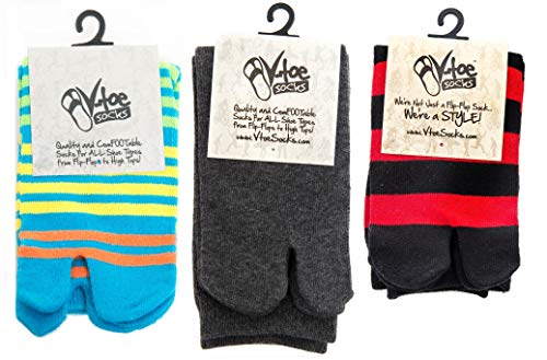 3 Pairs V-Toe Variety Stripe Solid Flip-Flop Socks Gunmetal Grey Solid, Blue, Yellow Stripes, Black Red Stripes