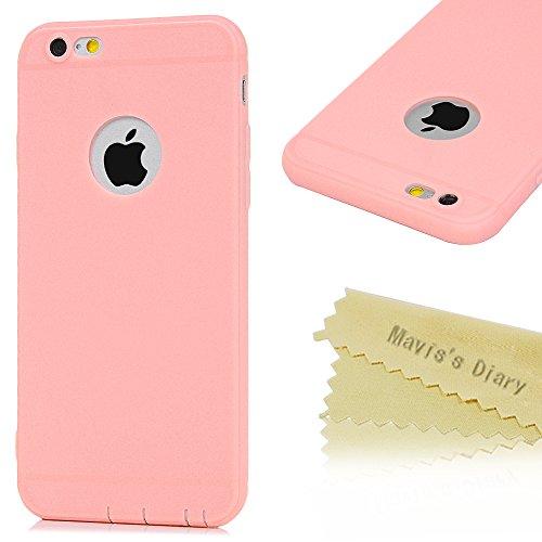 Mavis's Diary Coque iPhone 6/iPhone 6S TPU Souple Housse de Protection Étui Téléphone Portable Découpe du Logo Rose Phone Case Cover+Chiffon
