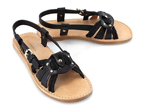 isabel-marant-womens-black-calf-leather-flat-sandals-shoes-size-11-us