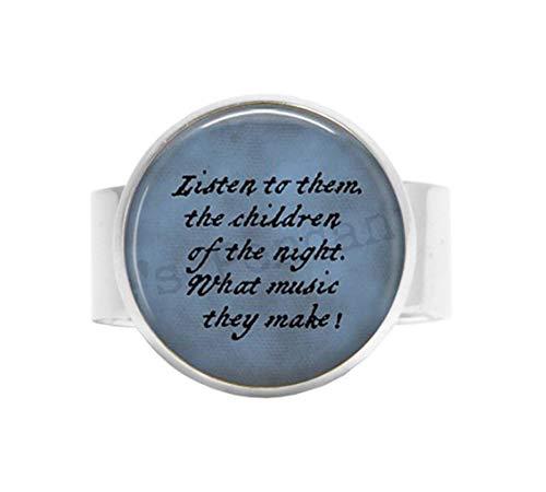 lukuhan Dracula Quote Adjustable Ring- Listen to Them, The Children of The Night. Halloween Jewelry - Goth Jewelry - Bram Stoker - Literary Jewelry