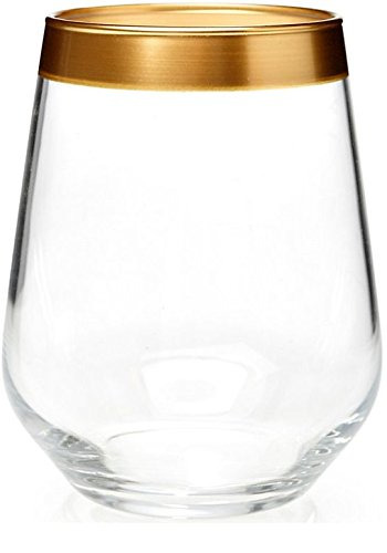 Circleware Villa Maria Gold Rimmed Stemless White/red Wine Glasses Set, 16 Ounce, Set of 4, Limited Edition Glassware Serveware Drinkware Drinking Glasses/cups