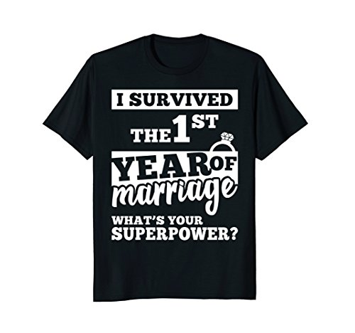 Mens Anniversary Gift 1st 1 years Wedding Marriage T-Shirt 2XL Black